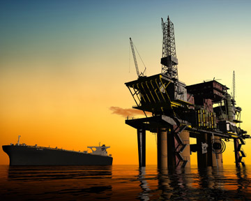 This image depicts an oil rig like one of the many rigs along the Gulf Coast of Louisiana, Florida, Alabama, Mississippi, and Texas. Unfortunately, many oil rig workers are injured or killed every year. Contact a New Orleans Personal Injury Lawyer or New Orleans Wrongful Death Lawyer today to discuss your rights.